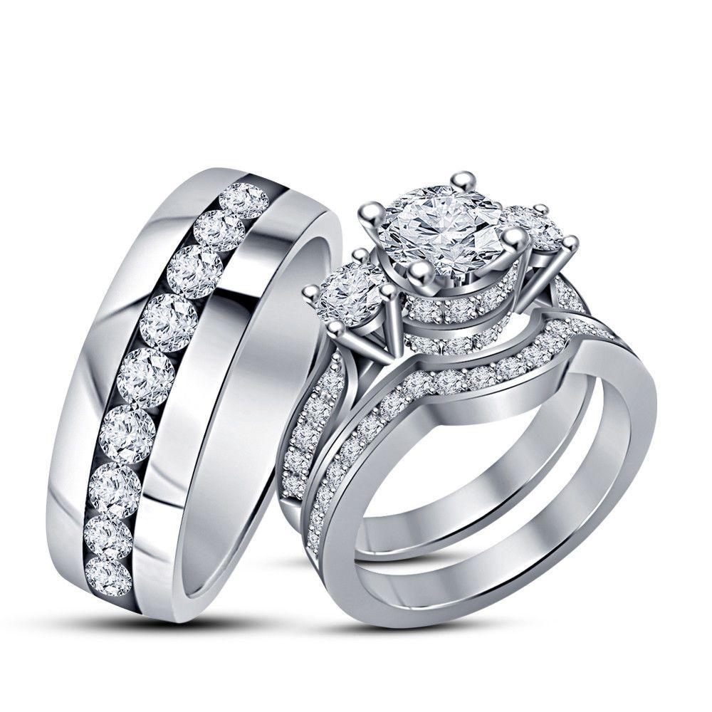 14k White Gold Fn 2ct Diamond Trio Wedding Ring Set His Her Matching Bri Wedding Ring Trio Sets Engagement Ring Wedding Band