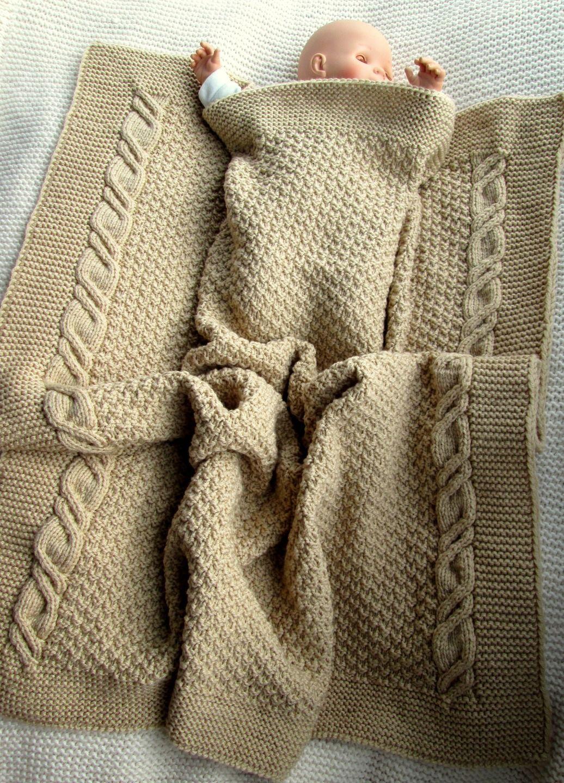 plaid ou grande couverture bébé au tricot fait main en grosse maille