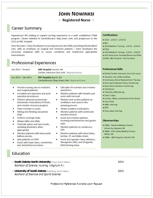 Awesome RN resume! Good, clean, and best of all all on one page - resume one page