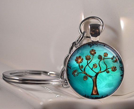 Blue Aqua Flower Tree Key Chain Key Ring Resin Pendant Key Chain Photo Key Chain C119 on Etsy, $10.50