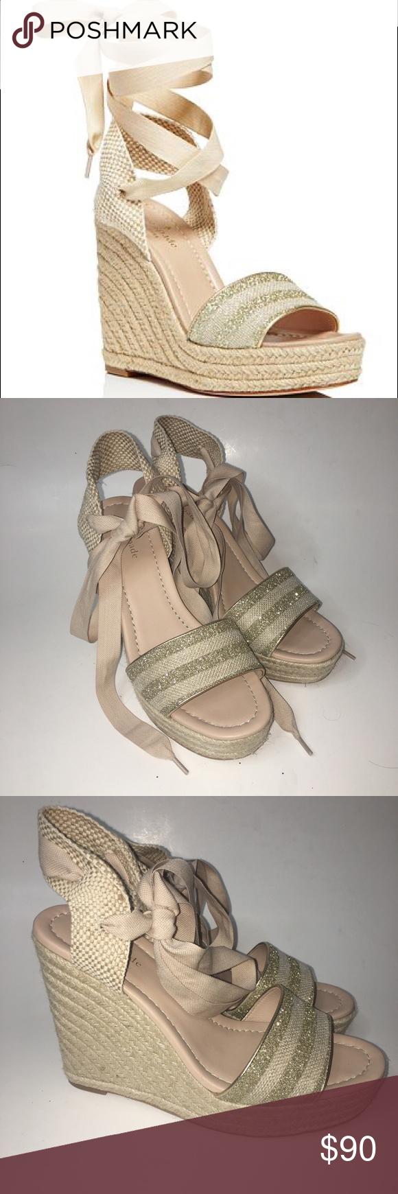e152175567ee Kate Spade Delano Glitter Stripe Espadrille Wedges Like new Kate Spade  Delano Glitter Stripe Lace Up Espadrille Platform Wedge Sandals In size 9. kate  spade ...