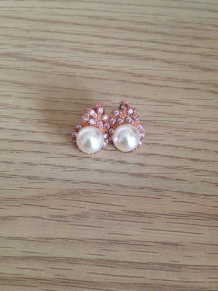 Beautiful 18k Rose Gold Filled South Sea Pearl & Pink Diamonique Stud Earrings  #Stud