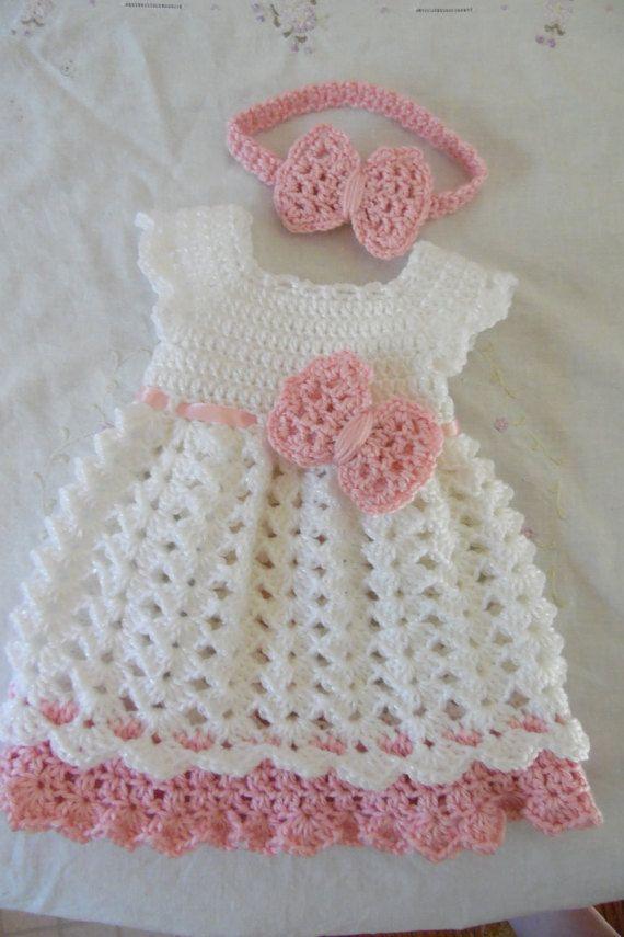 Bebé recién nacido niña vestido y diadema conjunto a pedido ... 2f7ca7bd501