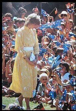 """March 21, 1983: Princess Diana among crowds of children outside the """"School of the Air"""" in Alice Springs, Australia."""