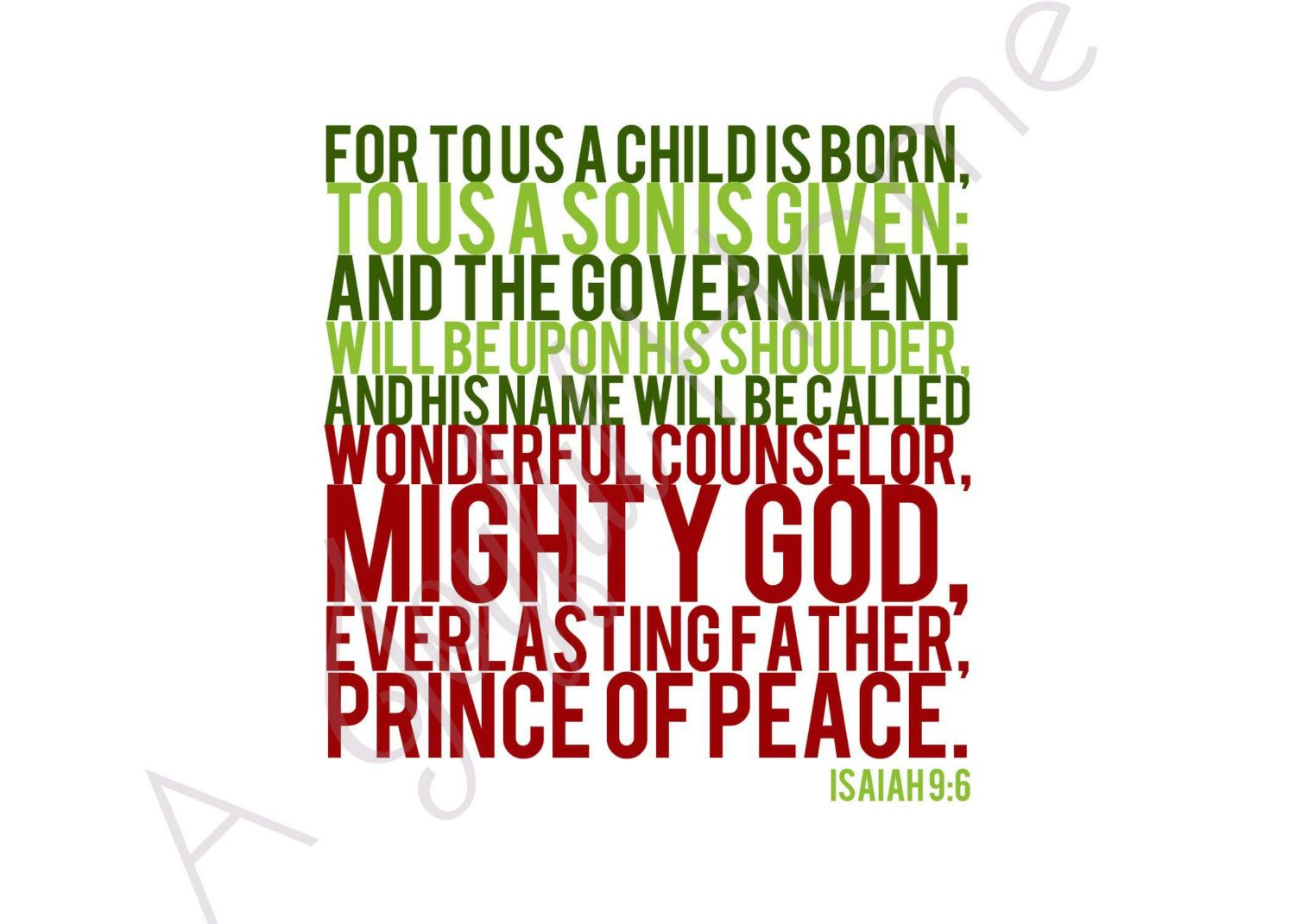 Isaiah 9:6 Printable Scripture Christmas Card --Thanks be to God ...