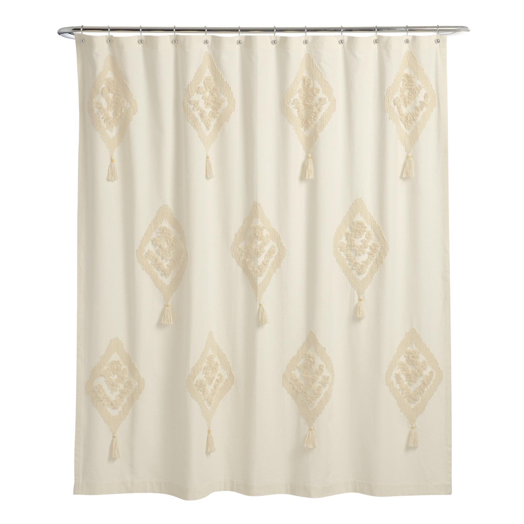Ivory Tufted Diamond Tassel Yana Shower Curtain By World Market In 2020 World Market Shower Curtain Curtains World Market Curtains