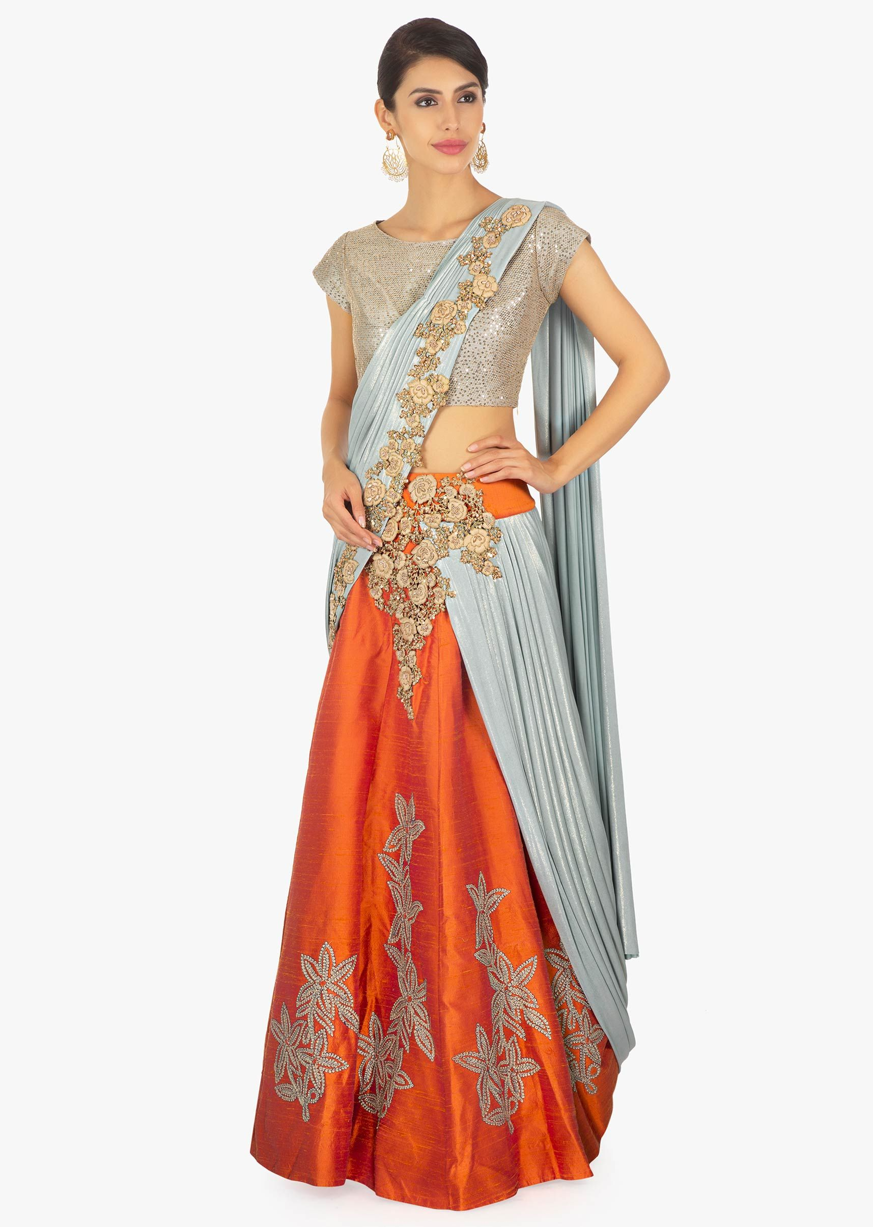 603bb09f09 Grey and orange saree lehenga with blue lycra preattached dupatta with  pleated pallo only on Kalki