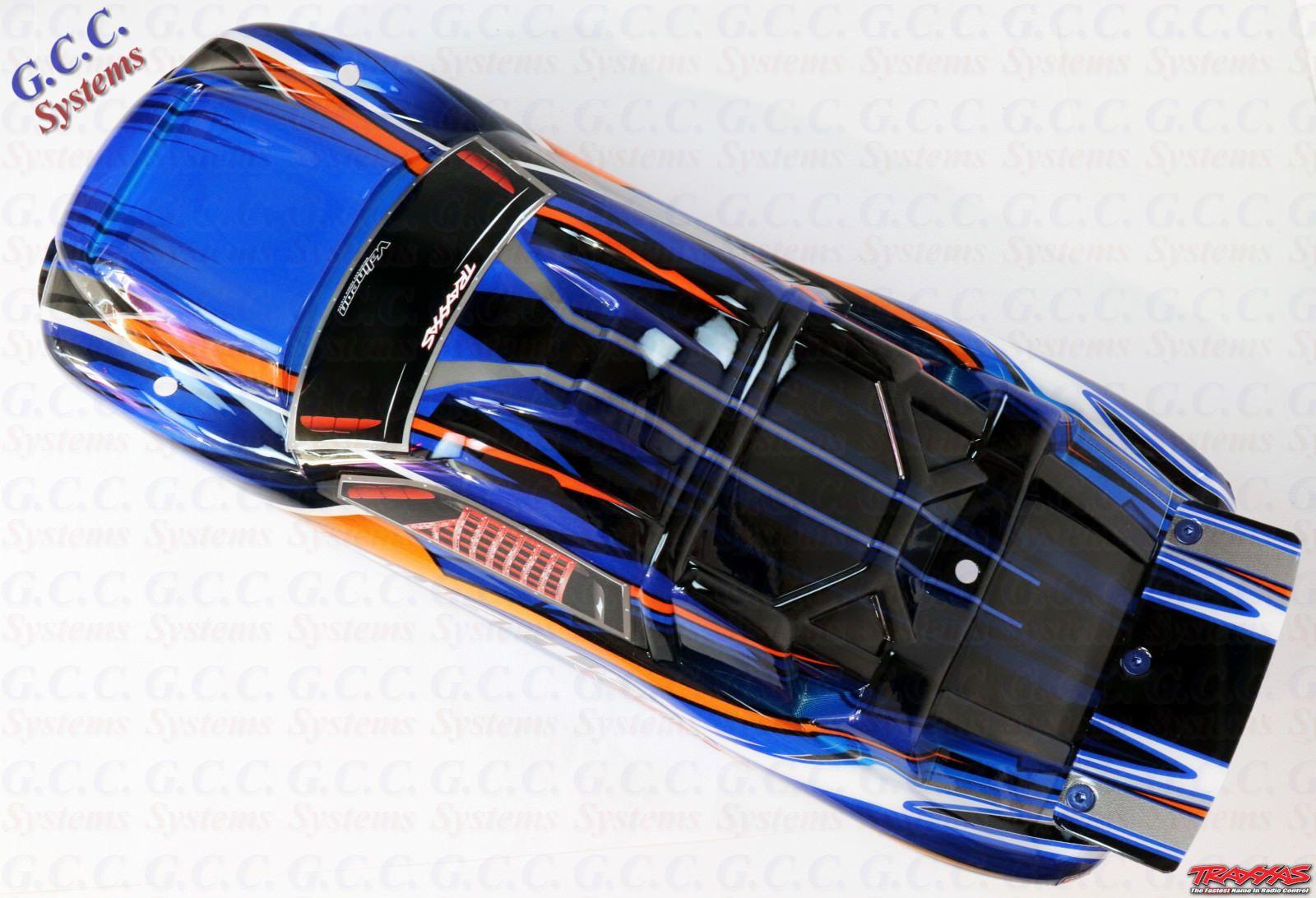 Genuine Traxxas Rustler Vxl Blue Orange Body Shell Brand New