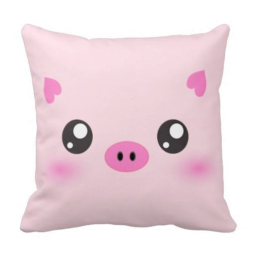 Cute Throw Pillows Pinterest : Cute Pig Face - kawaii minimalism Throw Pillow Kawaii, Pigs and Cute pigs