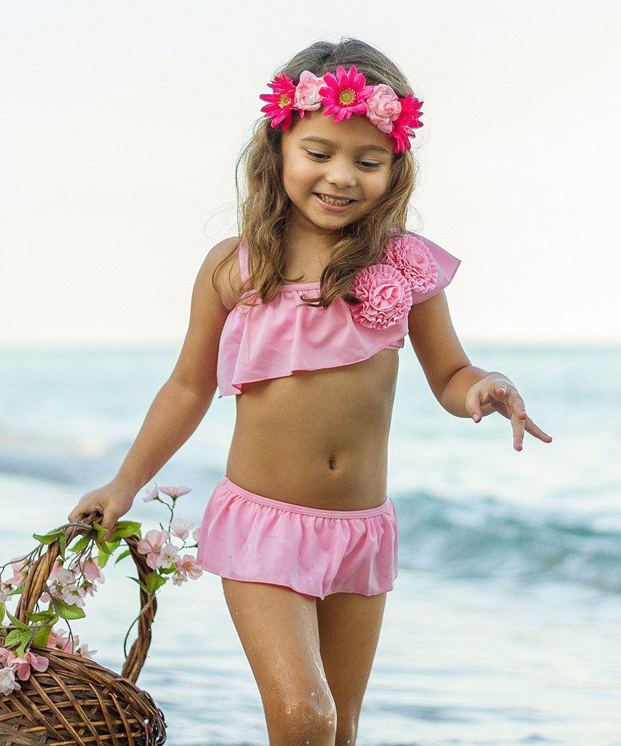 Look at this Mia Belle Baby Pink Rosette Asymmetrical Bikini ...