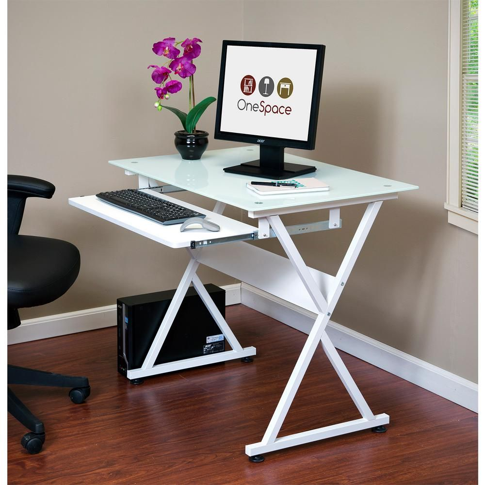 OneSpace White Ultramodern Glass Computer Desk with Pull