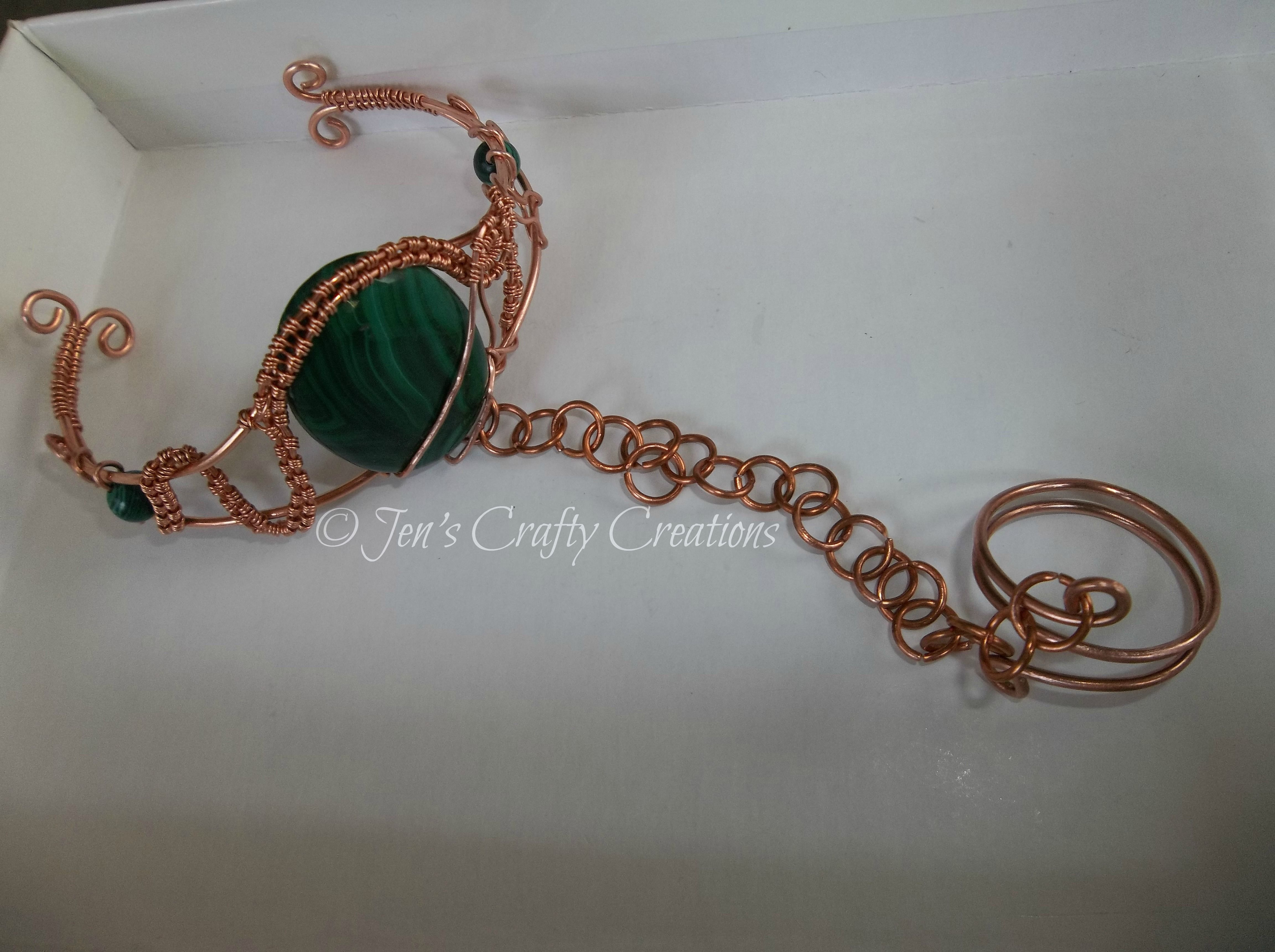 f018803a661ac Malachite and copper slave bracelet. | mixed | Wire Jewelry ...