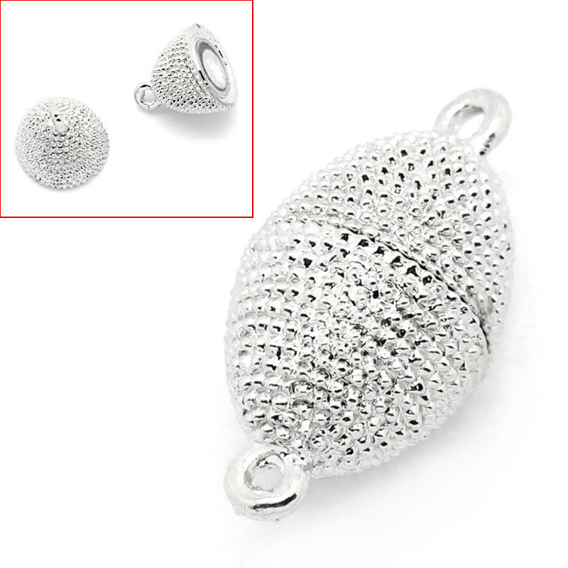 """1/""""x4//8/"""" Wholesale Lots Magnetic Clasps Oval Silver Tone 25mmx13mm"""