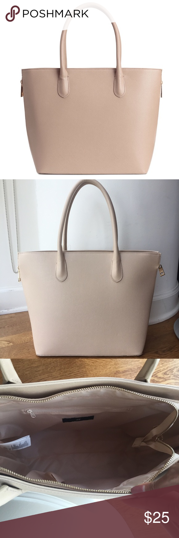 H M Light Taupe Purse Light taupe H M Purse. Has gold zippers on each side, 22783851b2