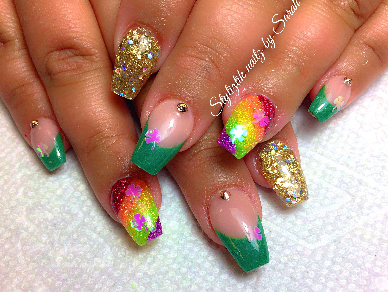 St Patrick's day Coffin nails Rainbow nails Styliztik ...