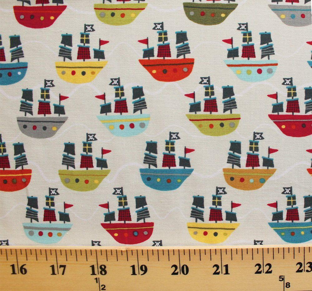 Amazon.com: Cotton Riley Blake Treasure Map Pirate Ships Waves Cream Cotton Fabric Print by the Yard (c3752-cream): Arts, Crafts & Sewing