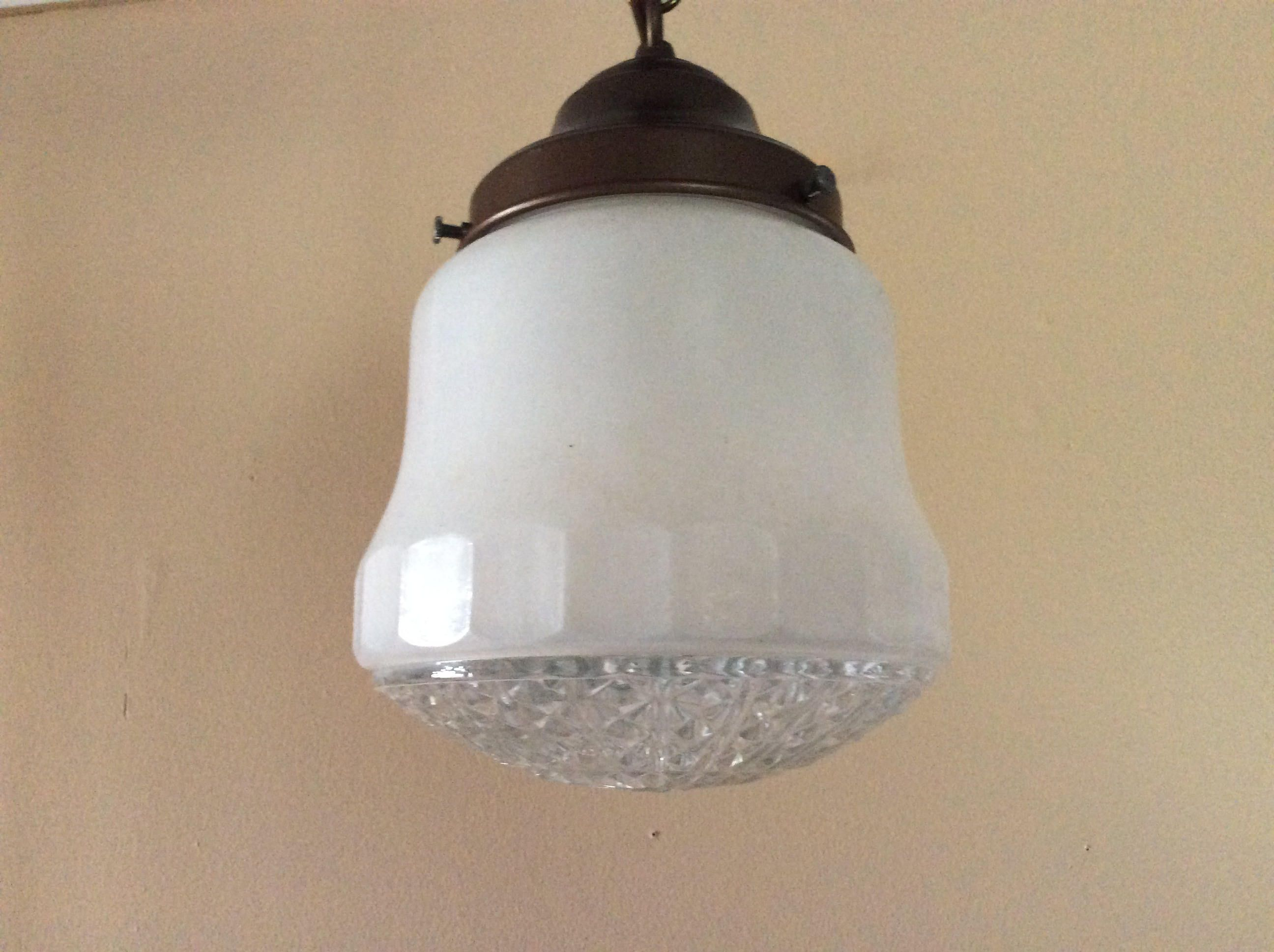 Art deco pendant light frosted crystal prismatic bottom star of art deco pendant light frosted crystal prismatic bottom star of david 1940s hallway vintage arubaitofo Gallery