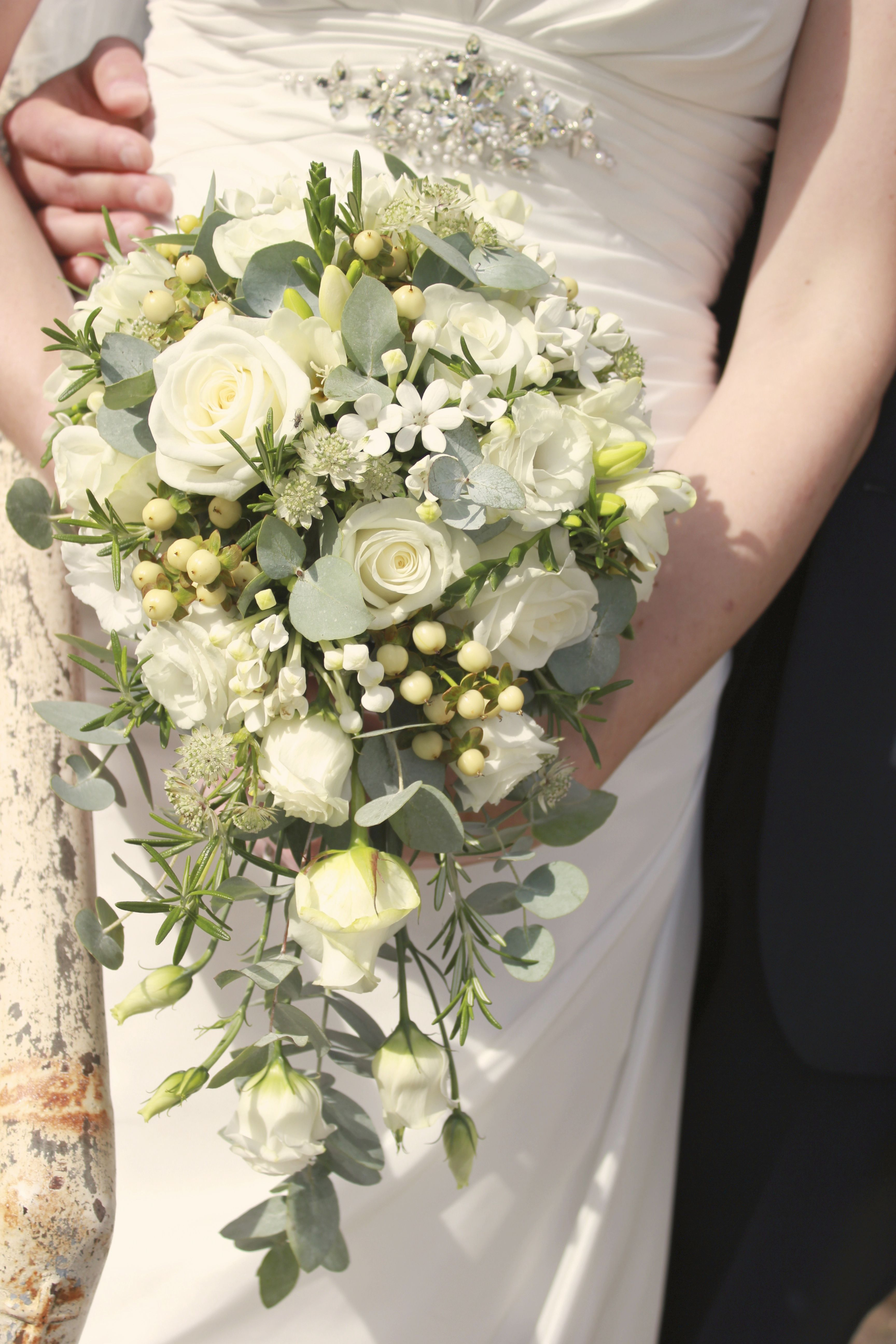 Classic White Rose Teardrop Bouquet