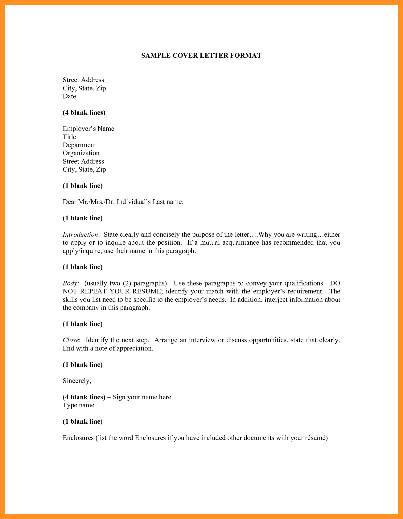 Application Letter Format Sample Youngster Departments Cover