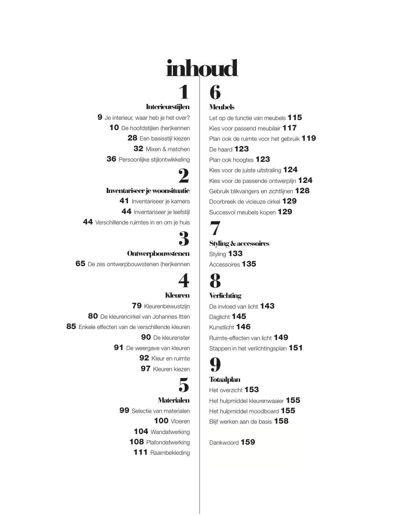 Inhoudsopgave Interieurbasics, met prachtige vormgeving door: http ...