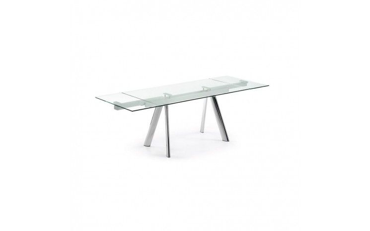 Verone À Table Transparent Extensible Verre Manger En Metal 8kwP0OXn
