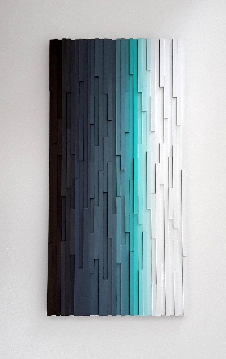 Wood Wall Art, Modern Abstract Painting, Wooden Wall Decor 24x48 #woodenwalldecor