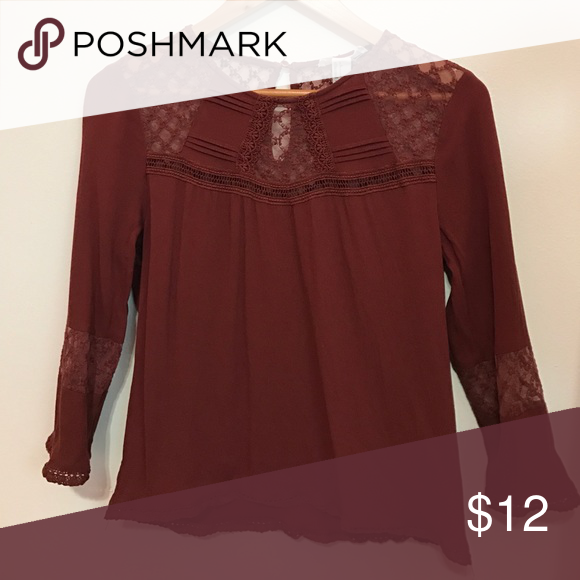 Peasant type blouse burgundy peasant shirt with lace detailing on forearms and upper chest and back Forever 21 Tops Blouses