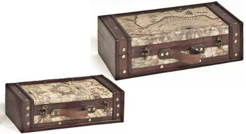 Set of 2 old world map wooden suitcase trunk box by decorative gifts set of 2 old world map wooden suitcase trunk box by decorative gifts 3999 gumiabroncs Image collections