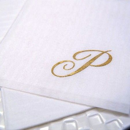 Monogrammed masslinn cocktail napkins are super silky to the touch.  Gift sets come packaged in sets of 20 and printed with a single monogram.