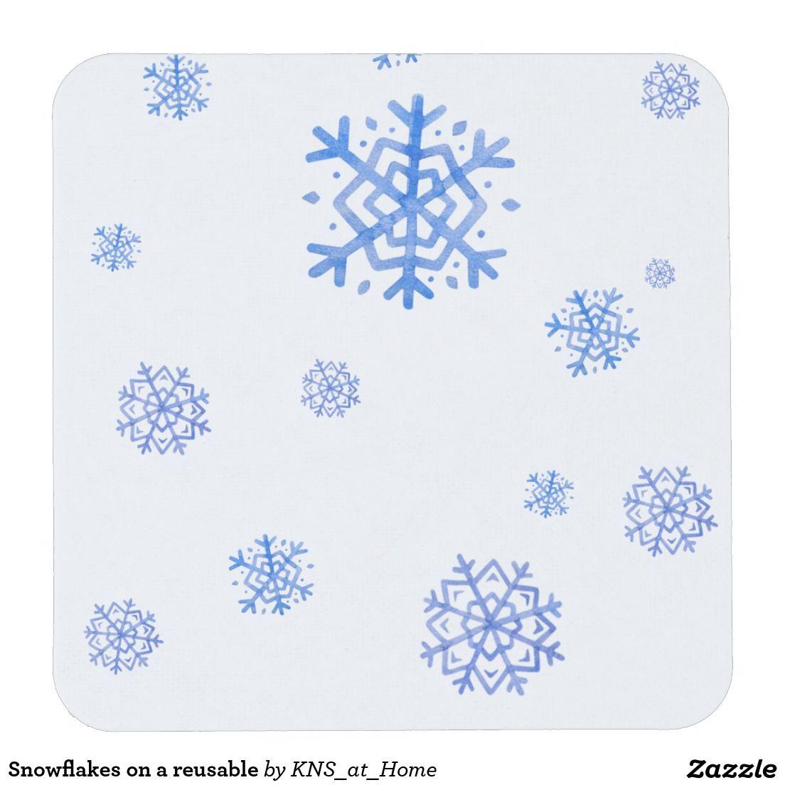 Drink Coaster   Paper Coaster, Reusable. Snowflakes