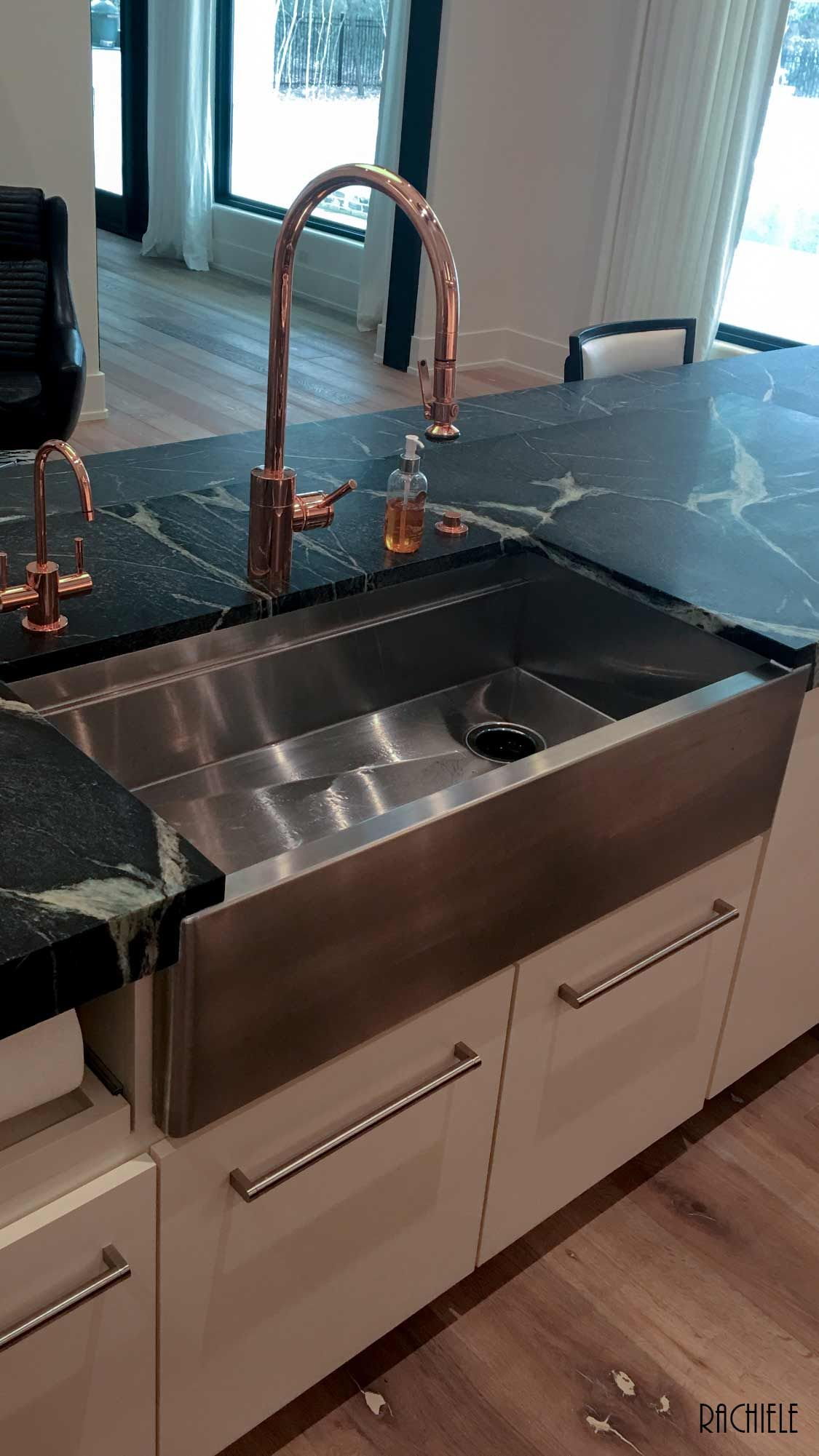 Farmhouse Stainless Workstation Sink With Copper Faucet By