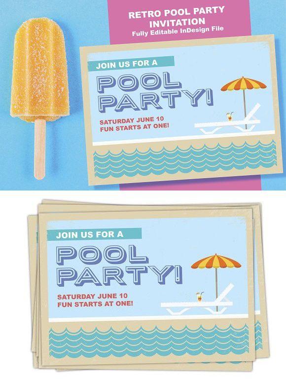 Retro Summertime Pool Party Invite Invitation Templates - party invite templates