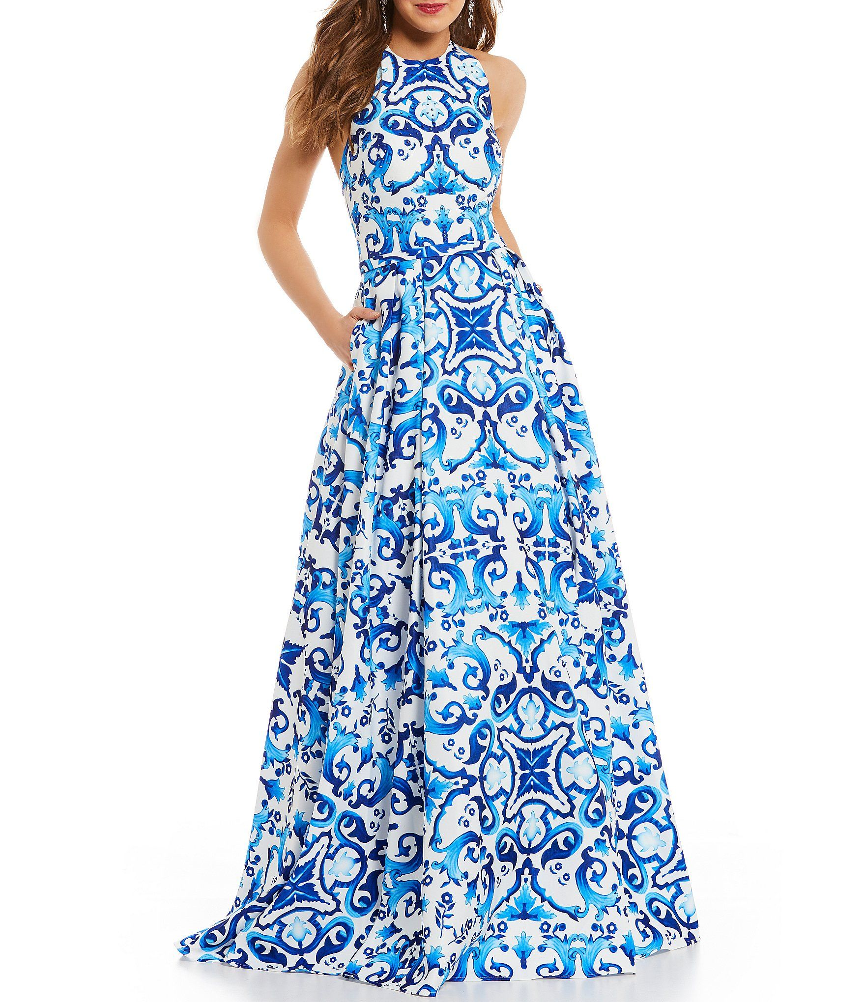 Shop for Glamour by Terani Couture Halter Neckline Scroll-Print Ball ...
