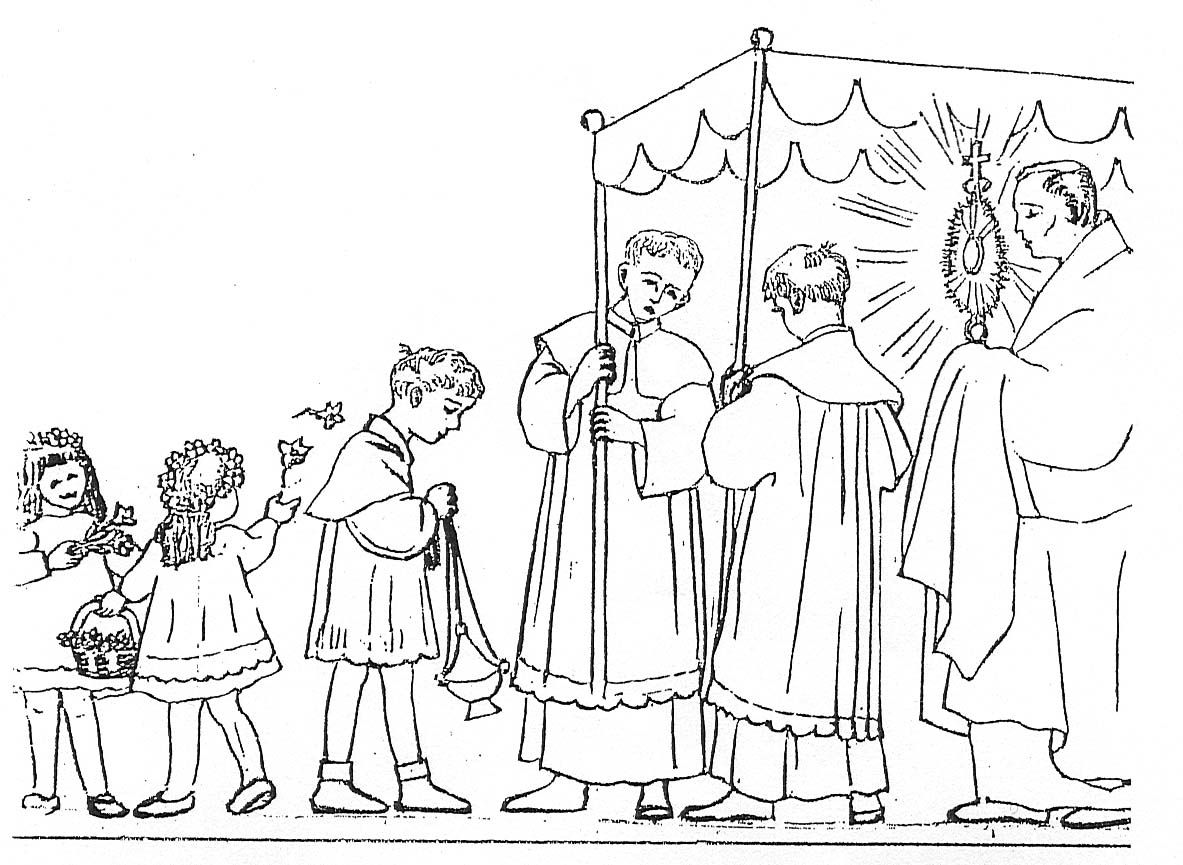 Adoration/ Procession of the Eucharist coloring page | CCD Coloring ...