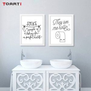 Hang your towl comb your hair funny toilet quotes canvas painting restroom bathroom decoration poster and print modular wall art