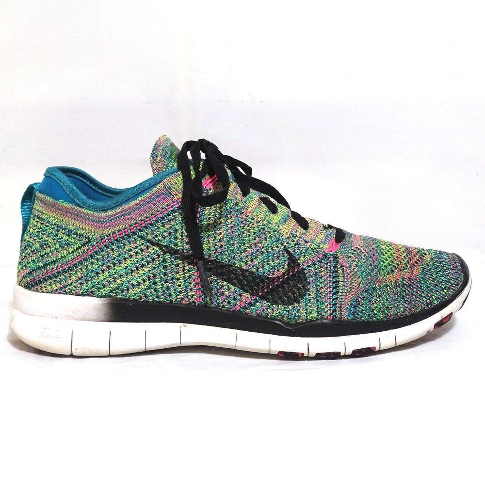ee2ef469ea52 Nike Free TR 5.0 Flyknit Running Shoes Women Size 8 Multicolor 718785-300   Nike  RunningShoes