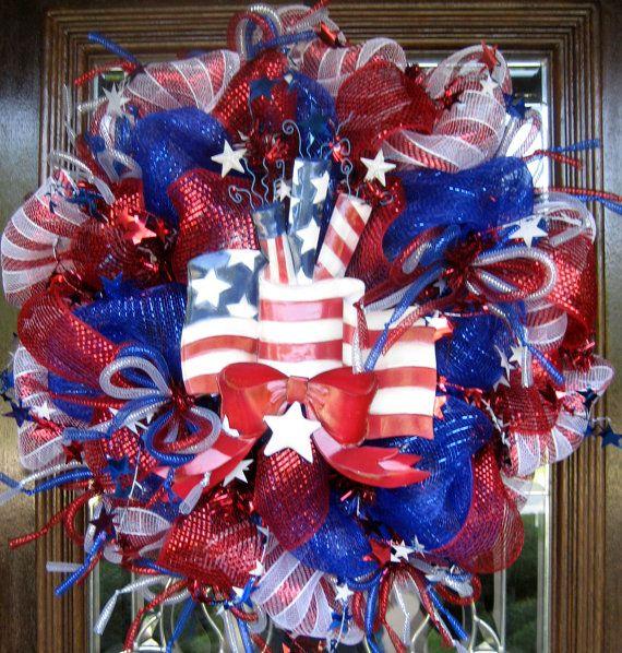 Deco Mesh AMERICAN FLAG PATRIOTIC Wreath by decoglitz on Etsy