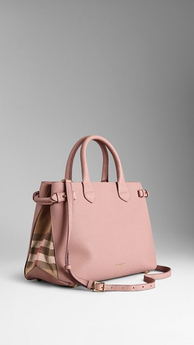The Medium Banner In Leather And House Check Blush Burberry Handbag