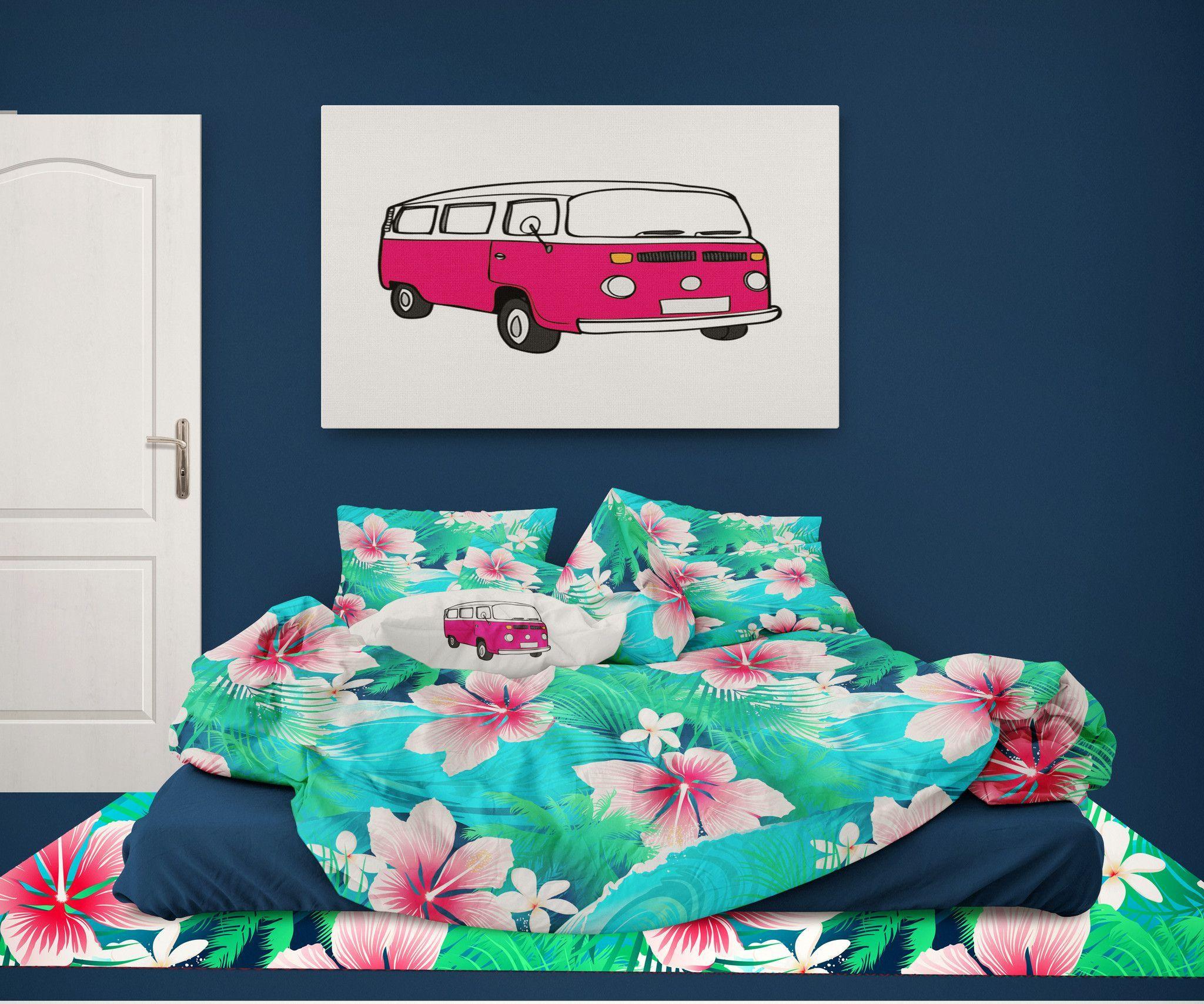 Surfer Bedding Aqua And Pink Hibiscus Hawaiian Comforter Bed