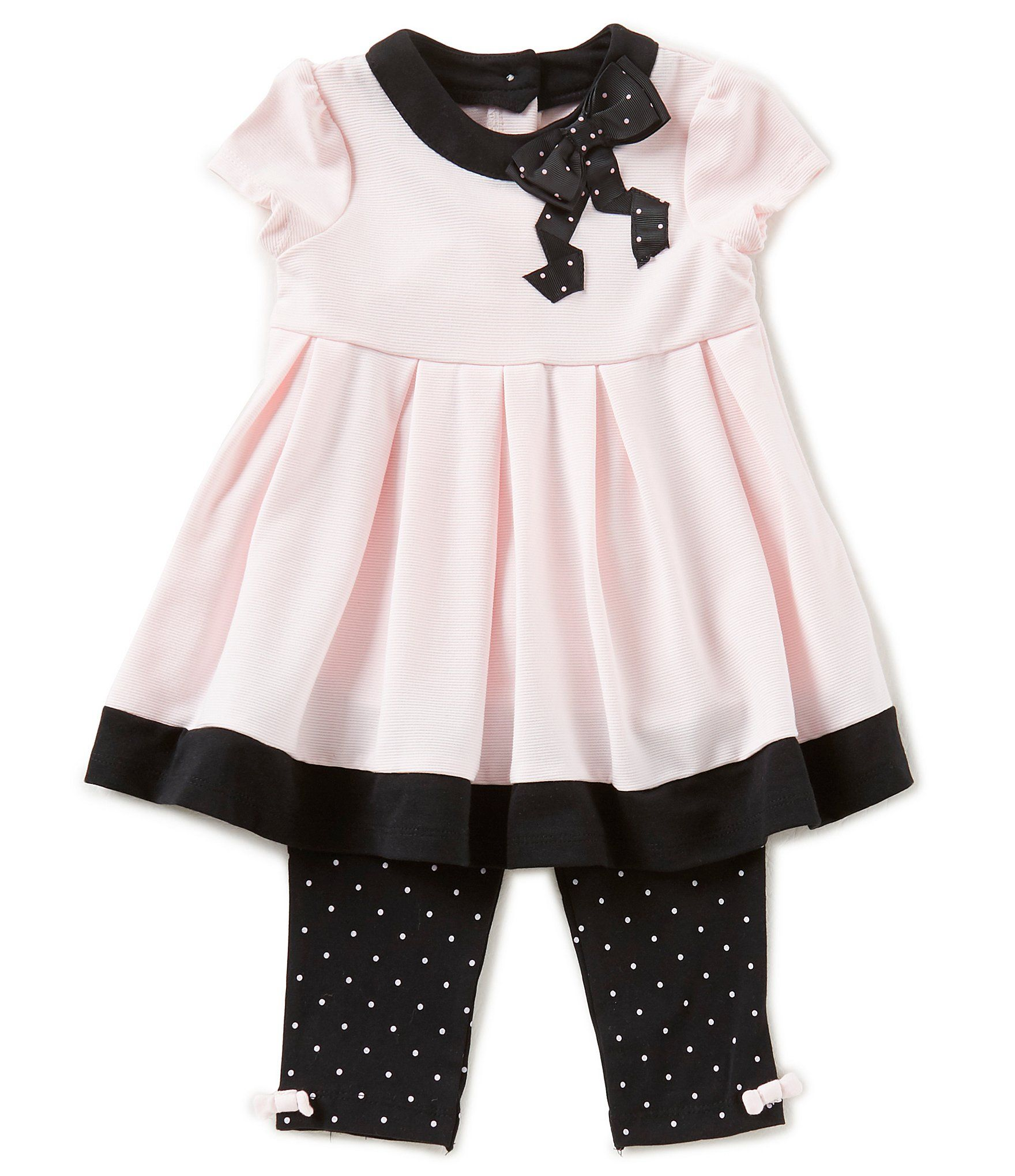 Little Me Baby Girls 12 24 Months Cap Sleeve Pleated Dress & Dotted
