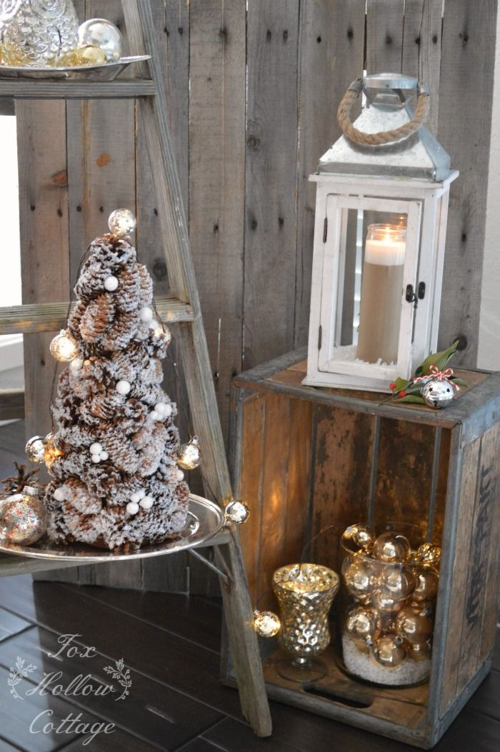 vintage rustic christmas decor this pine cone tree is so cute and you could use the snow and glitter to decorate it