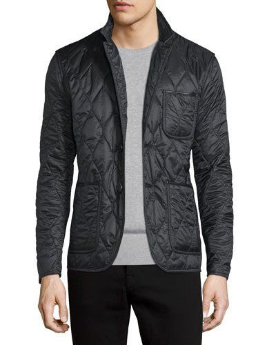 Burberry Gillington Quilted Jacket In Black Modesens Burberry Quilted Jacket Quilted Jacket Men Mens Jackets
