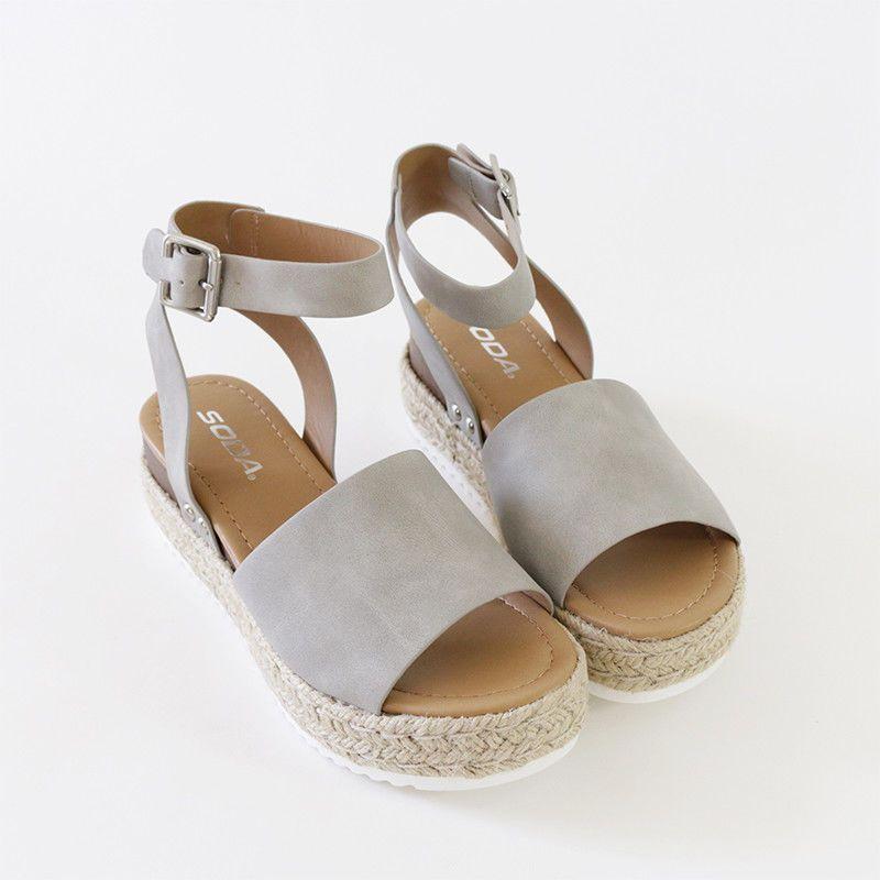 bdb340231f3 Ankle Strap Sandal Espadrille-lined Sole Sporty Wave-siped Flatform ...