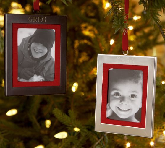 Personalized Grosgrain Frame Ornament With Images