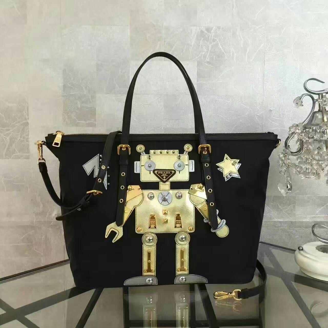 8b2286af2c4 Prada Fabric Tote with Robot Motif Leather and Metal Appliqués 06 ...