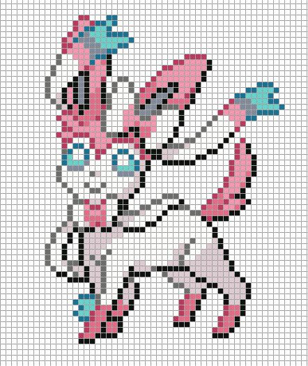 700 Sylveon By Https Www Deviantart Com Electryonemoongoddes On Deviantart Pixel Art Templates Pixel Art Pokemon Pixel Art Pattern