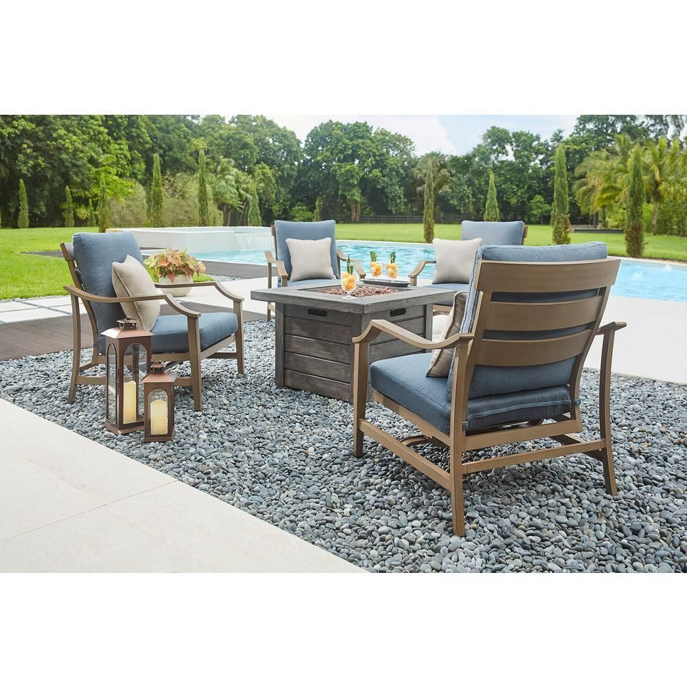 Home Decorators Collection Bridewell 5 Piece Aluminum Patio Fire Pit Conversation Set With Sunbrella Action Denim Cushions