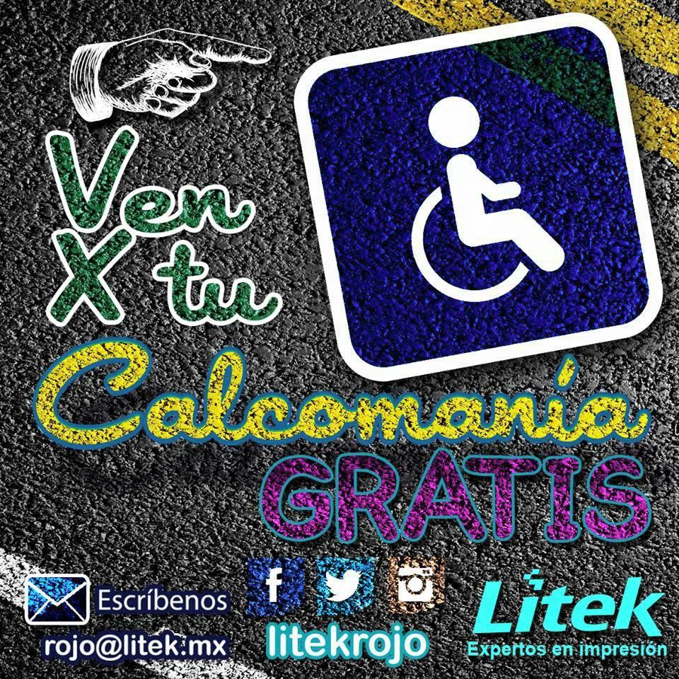 Ven por la calcomanía para tu auto totalmente GRATIS!!! Porque sabemos respetar y reconocer tu espacio! No tienes que comprar nada!  #Litek #ExpertosEnImpresión #PiensaRojo