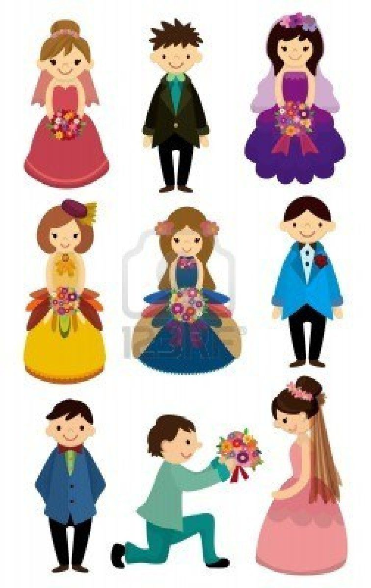 cartoon Wedding ceremony - bride and groom icon Stock Photo