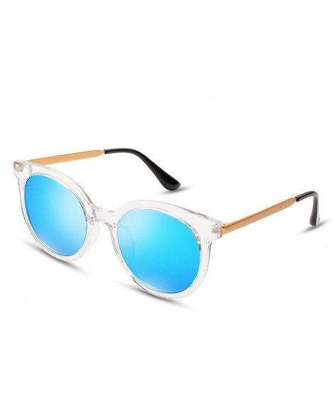 b3d4cade1b3 Fashion Round Sunglasses for Women - Transparent Frame Blue Lens ...